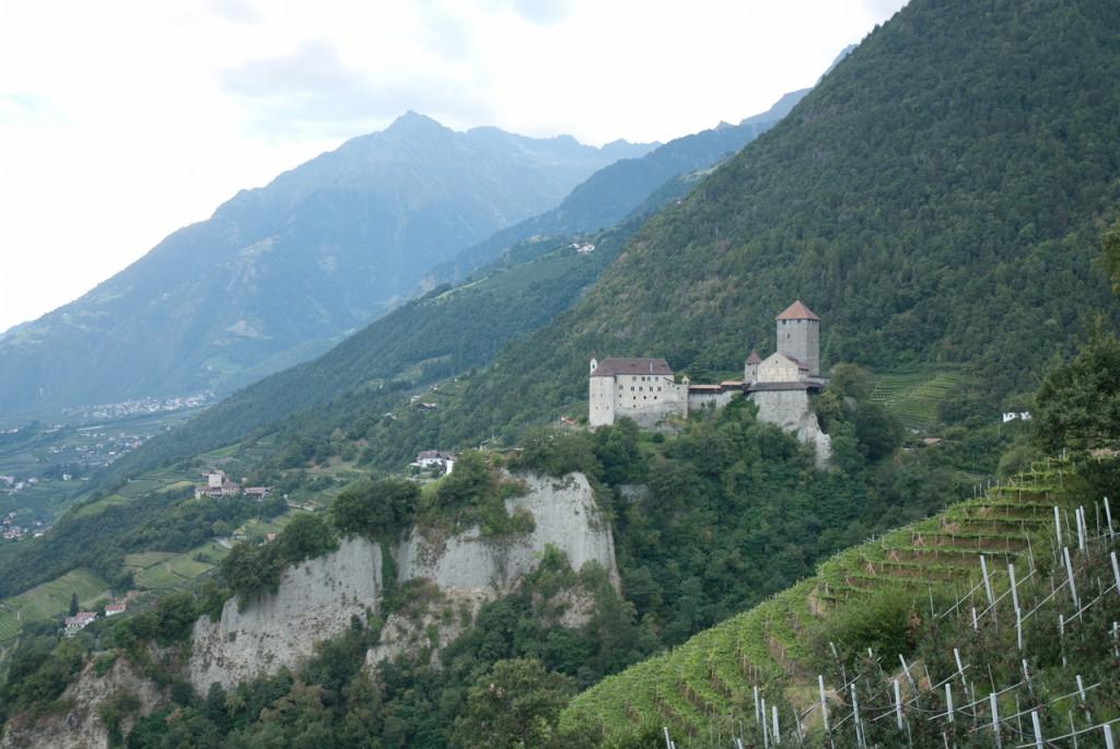 Auf dem Apfelwanderweg mit Blick auf Schloss Tirol