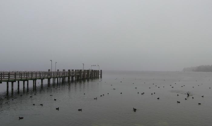 Der Starnberger See liegt im Nebel