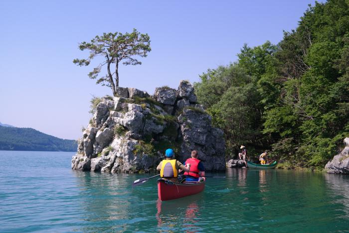 Unser Ziel, die Insel im Molvenosee