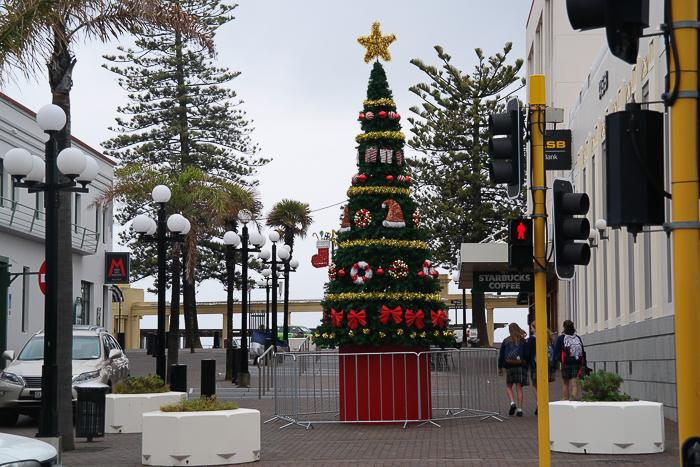 Üppig geschmückter Weihnachtsbaum in Napier