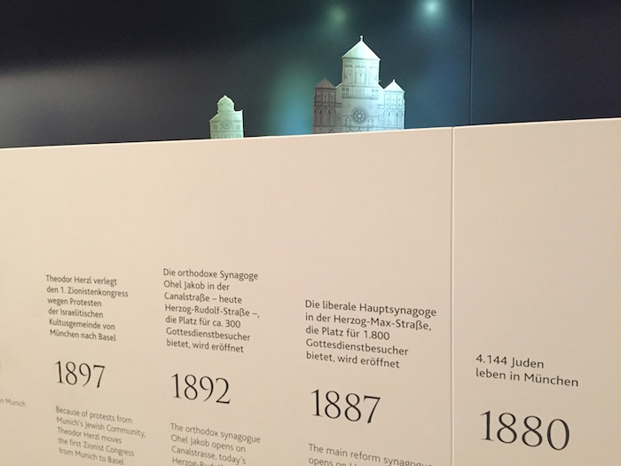 Der Zeitstrahl mit den Modellen der Münchner Synagogen